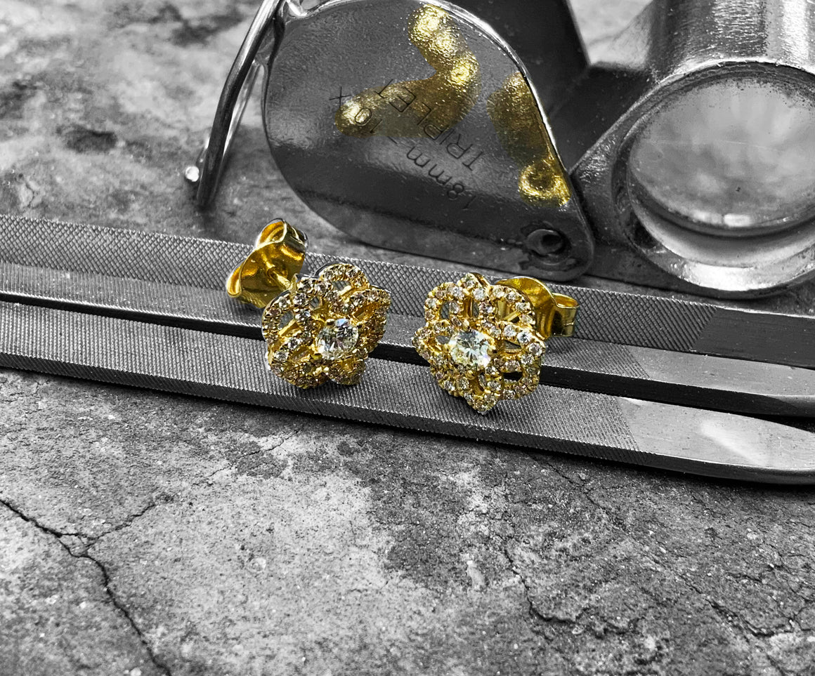 Yellow Gold Diamond Earrings - ef7500-18y
