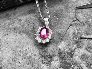 White Gold Diamond & Ruby Pendant - eru291-18w-pend