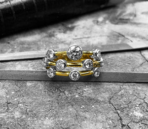 Handmade Yellow & White Gold Diamond Bubble Ring - jbd-bubble-18yw
