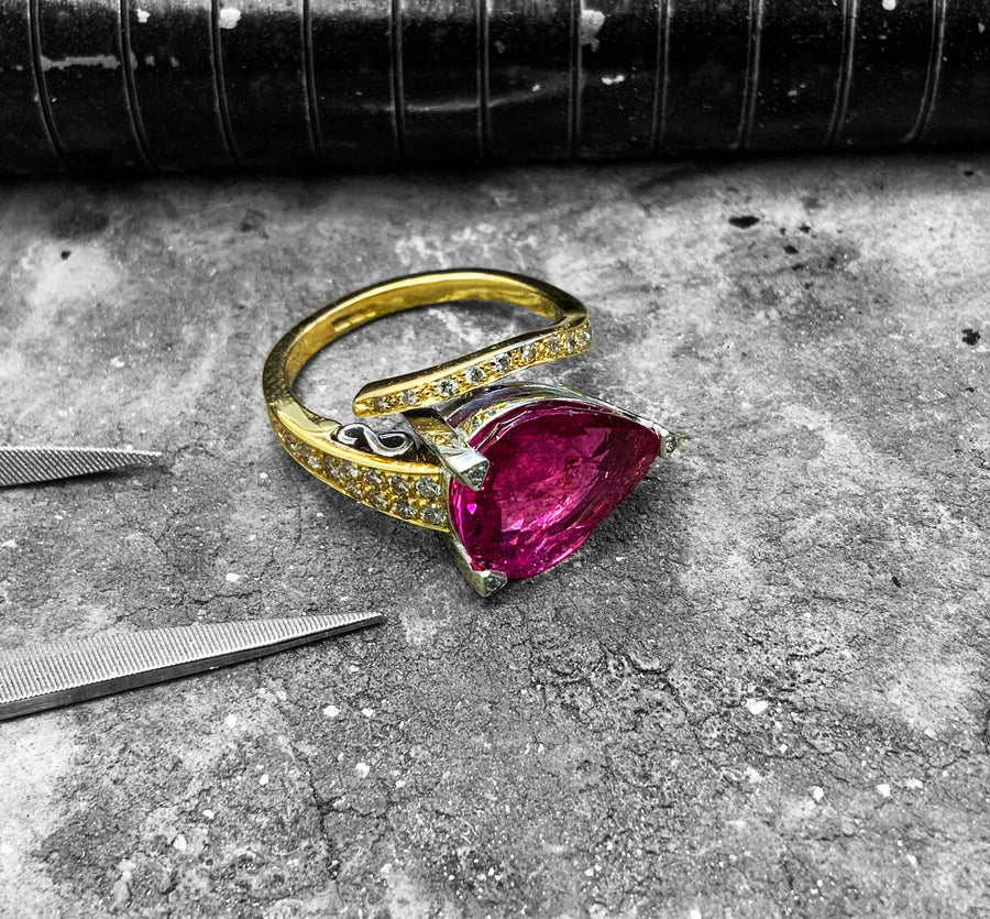 White & Yellow Gold Pink Tourmaline & Diamond Dress Ring - jbd3-0813-55