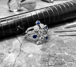 White Gold Diamond & Sapphire Bubble Ring - no-80cast-18w09