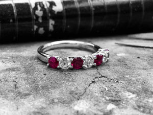 White Gold Ruby & Diamond Dress Ring - r07505r-18w