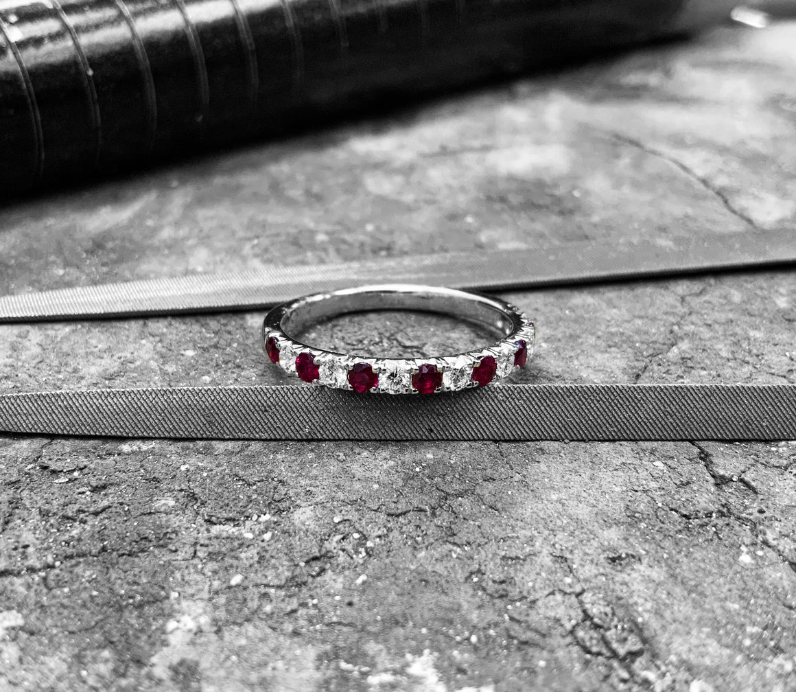 White Gold Ruby & Diamond Ring - r17547r-18w