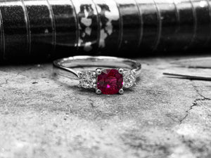 White Gold Ruby & Diamond Dress Ring - r3-264-55-18w05