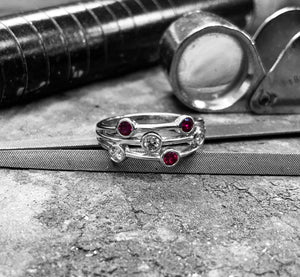 White Gold Ruby & Diamond Bubble Ring - rl4-2-5-18w1117