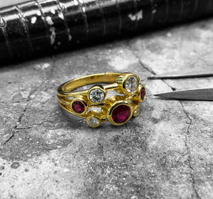 Yellow Gold Diamond & Ruby Bubble Ring - rl45-100-18y111
