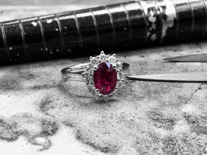 White Gold Ruby & Diamond Dress Ring - rx7601-86-18w02