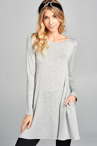 Take It Easy Tunic Dress in Gray Regular