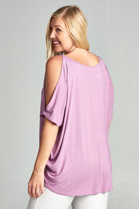 Lovely Lavender Cold Shoulder Top