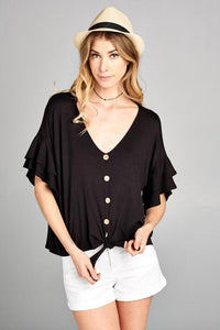 Tiered in Black Button Down Top
