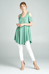 Plus Celebrate Today Cold Shoulder Top in Sage