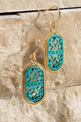Oval Filigree Earrings in Aqua