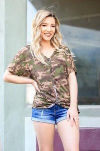 Cozy in Camo Button Down Top