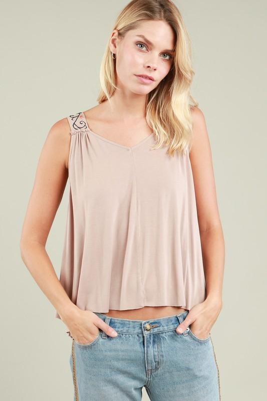 Trendy in Taupe Tank