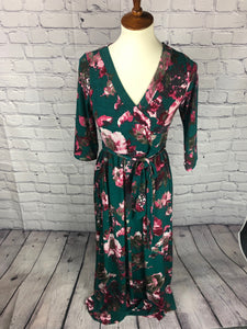 Floral Printed Long Wrap Dress