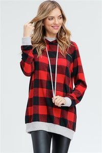 Pretty in Plaid Hoodie in Red