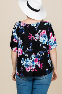 Fields of Floral Knot Top