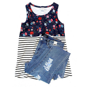 The Striped Floral Tank