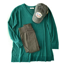 Load image into Gallery viewer, Stay True to You Waffle Knit Sweater in Deep Green