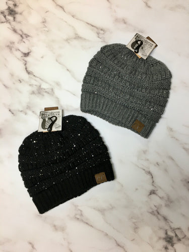 CC Beanie Sequin Pony Tail