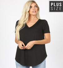 Load image into Gallery viewer, V Neck Basic Tee- Curvy
