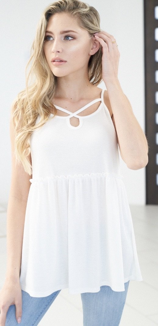 Criss Crossed in White Tank
