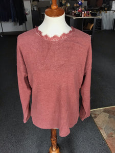 Mauve Lace Open Back Sweater
