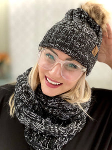 My Heathered Black Infinity Knit Scarf