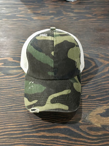 Criss Cross Back Distressed Ball Cap