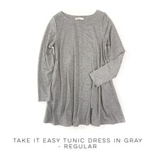 Load image into Gallery viewer, Take It Easy Tunic Dress in Gray Regular