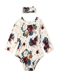 Floral Onesie with Matching Bow
