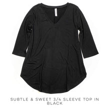 Load image into Gallery viewer, Subtle & Sweet 3/4 Sleeve Top in Black
