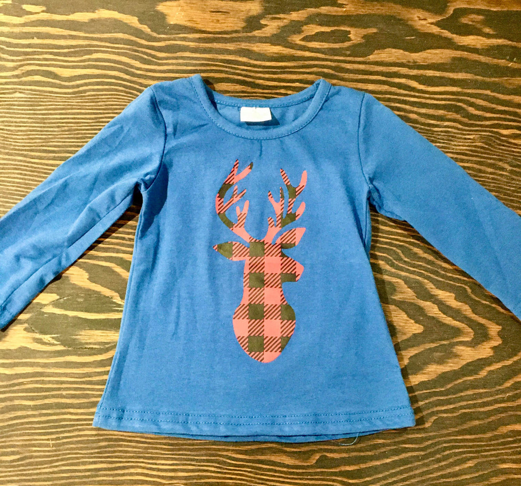 Blue with Buffalo Plaid Reindeer Top