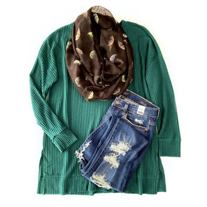 Stay True to You Waffle Knit Sweater in Deep Green