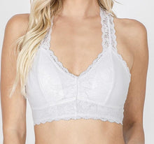Load image into Gallery viewer, Lovely in Lace Racerback Bralette in White