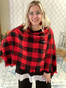 My Cozy & Cute Plaid Poncho in Red