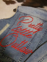 PRETTY LITTLE OUTLAW EMBROIDERED DETROYED DENIM VEST - HEART OF AN OUTLAW ORIGINAL DESIGN