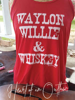 WAYLON WILLIE & WHISKEY RACERBACK TANK BY HEART OF AN OUTLAW