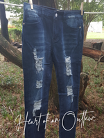 Destroyed Denim & Lace Skinny Jeans