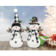 DOTTED PLAID SNOWMAN SET OF 2