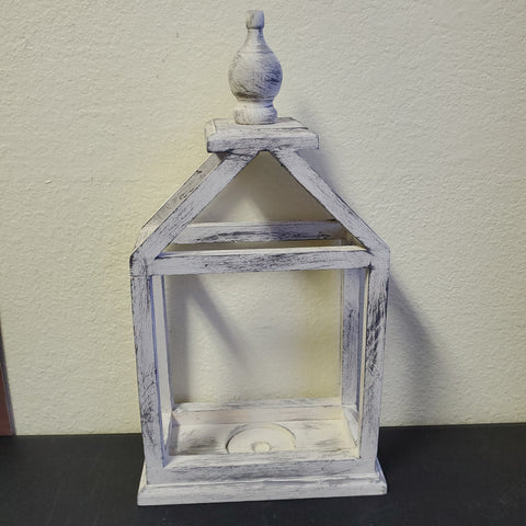 HAND CRAFTED WOODEN LANTERN 20X10X5 CREAM