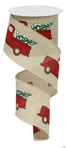 2.5X10 VINTAGE TRUCK W/ TREE NATURAL/WHITE/RED