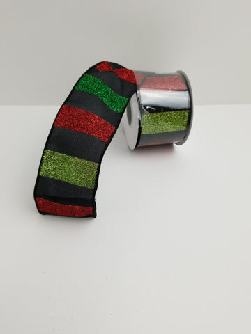 GLITTER CABANA STRIPE RED BLACK GREEN  2.5X10