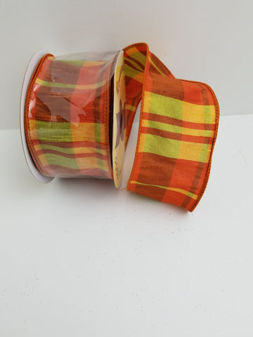ORANGE YELLOW PLAID 2.5X10