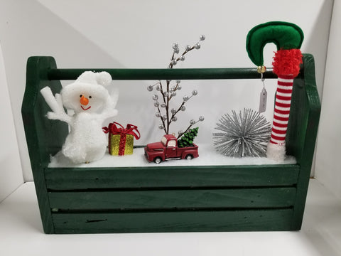 HAND CRAFTED TOOL BOX WITH XMAS SCENE GREEN