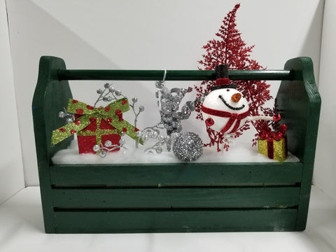 HAND CRAFTED TOOL BOX WITH XMAS SCENE