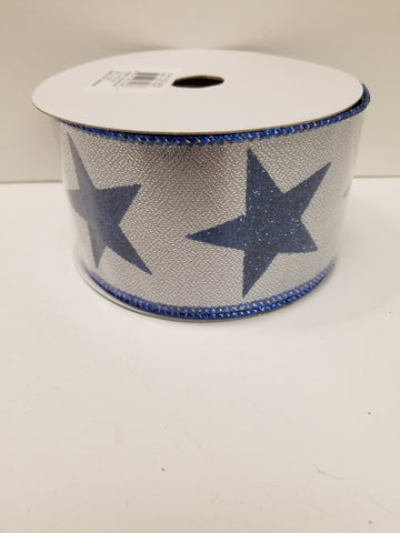 2.5X10 BLUE GLITTER STAR RIBBON