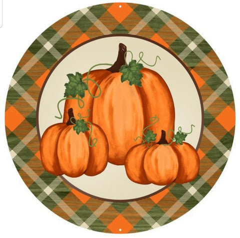 "12"" MEAL PUMPKIN PLAID SIGN"