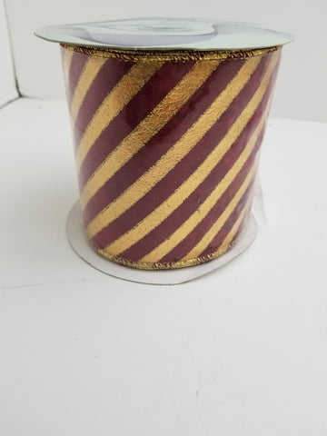 4X10 RED VELVET GOLD DIAGONAL STRIPE
