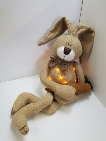 "33"" LIGHT UP BURLAP BUNNY WITH CARROT"